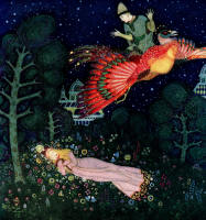 Edmund Dulac's 'There he found the Princess asleep and saw that her face was the face he had seen in the portrait' for the tale 'The Firebird' in the 1916 Edition of ''Edmund Dulac's Fairy-Book''