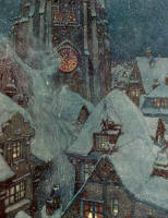 Edmund Dulac's 'Many a winter's night she flies through the streets and peeps in at the windows, and then the ice freezes on the panes into wonderful patterns like flowers' for the tale 'The Snow Queen' in the 1911 Edition of ''Stories from Hans Andersen''